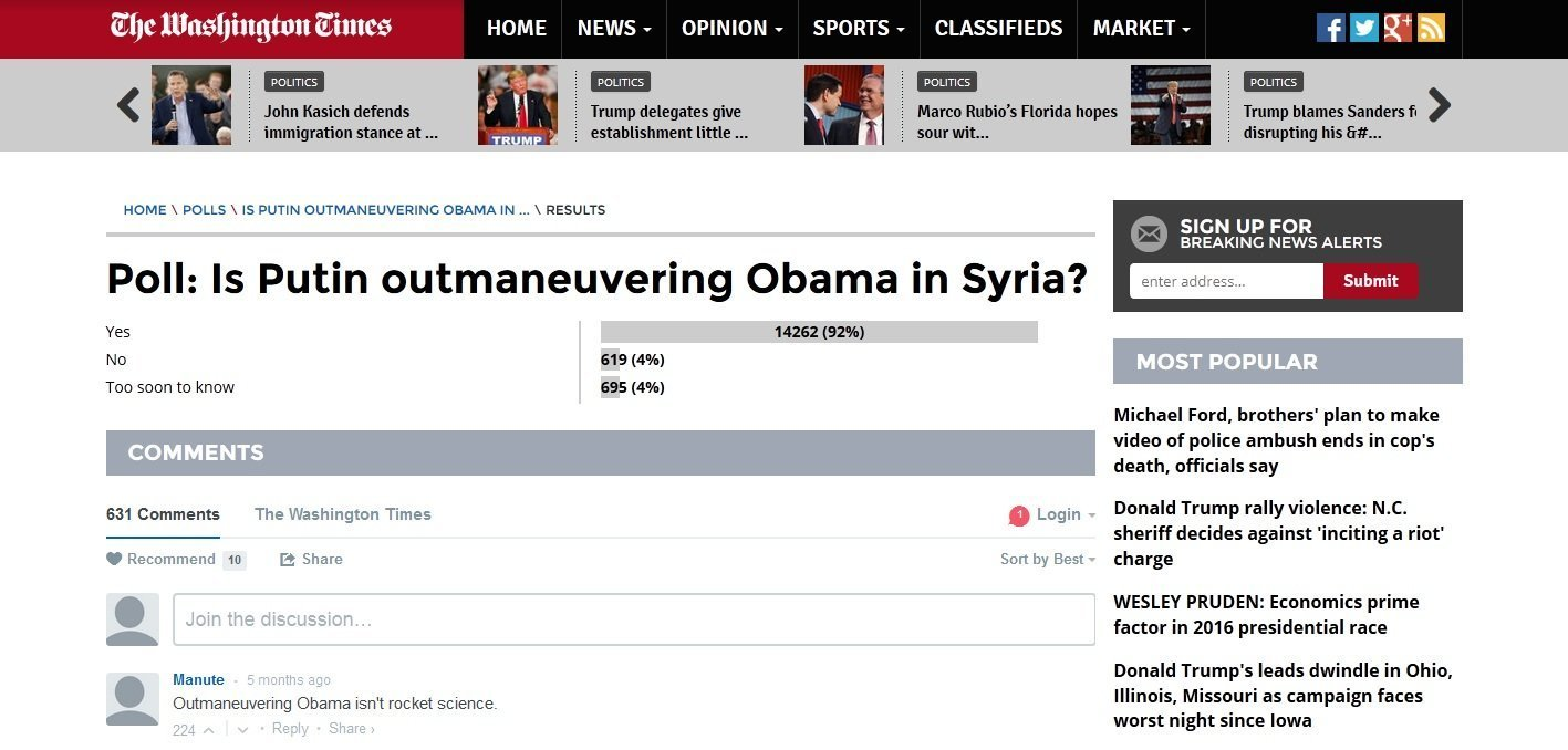 Poll: Is Putin outmaneuvering Obama in Syria?