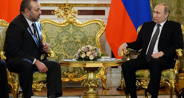 March 15, 2016. Russian President Vladimir Putin, right, and King Mohammed VI of Morocco meet in the Kremlin