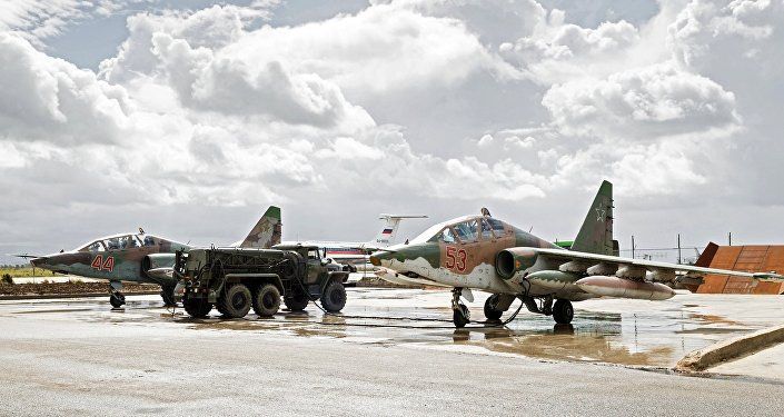 This file photo shows Sukhoi Su-25 ground-attack planes of the Russian Aerospace Forces at the Hmeymim airbase in Syria