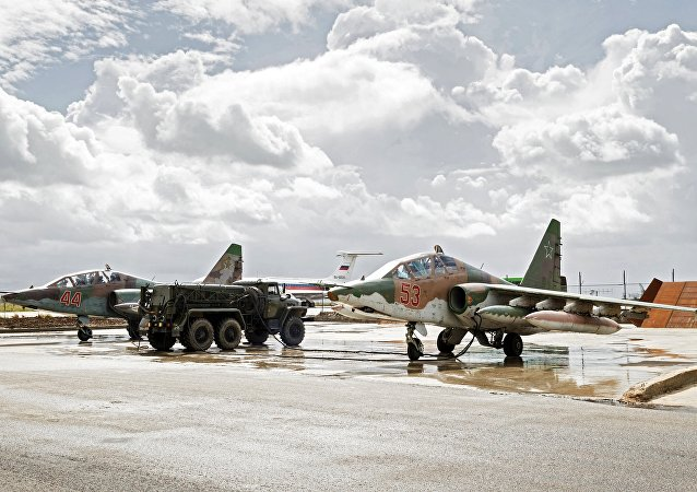 Sukhoi Su-25 ground-attack planes of the Russian Aerospace Forces prepare to depart from the Hmeymim airbase in Syria for their permanent location in Russia