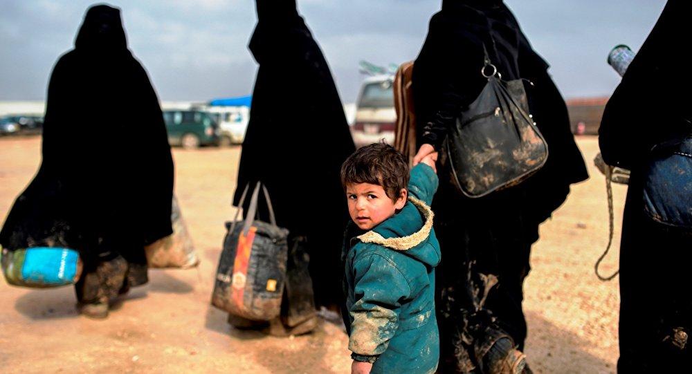 Syrian refugees fleeing Aleppo.