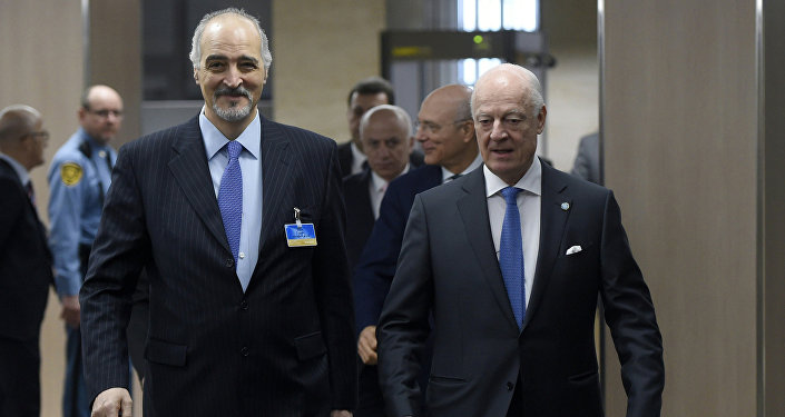 Syrian Ambassador to the United Nations (UN) and Head of the Government delegation Bashar al-Jaafari, left, and UN Special Envoy of the Secretary-General for Syria Staffan de Mistura, right, arrive to participate to new round of negotiations between the Syrian government and UN Special Envoy of the Secretary-General for Syria Staffan de Mistura at the United Nations Office in Geneva, on Wednesday, March 16, 2016