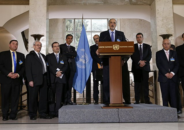 Syrian government delegation headed by Bashar al-Jaafari attends a news conference after a meeting on Syria at the European headquarters of the United Nations in Geneva, Switzerland, March 16, 2016
