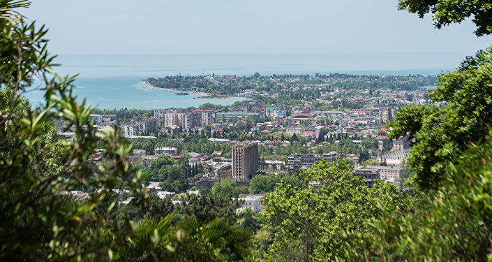 Panorama of central Sukhumi and the sea shore.