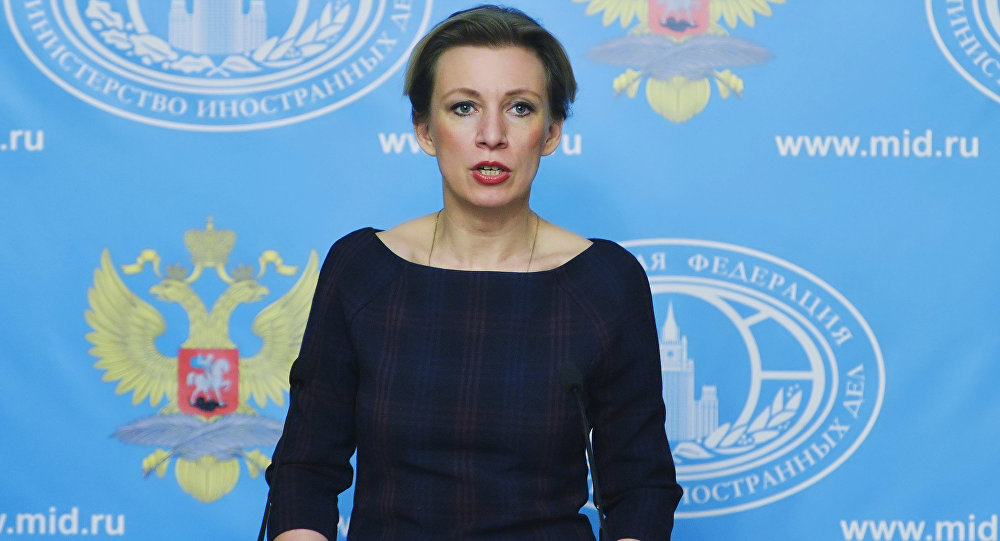 Russian Foreign Ministry Spokesperson Maria Zakharova during a press briefing on the current foreign policy issues