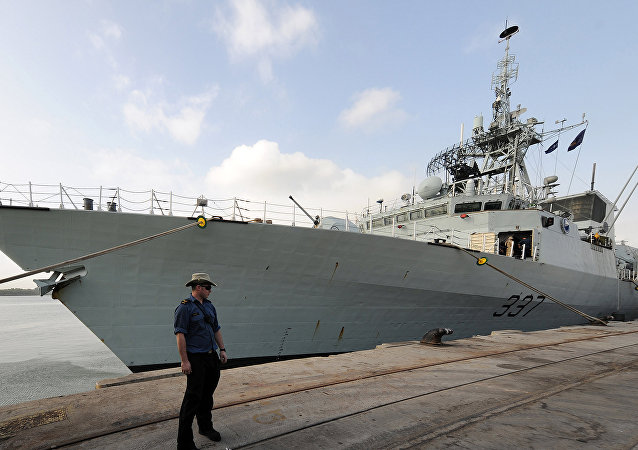 The Canadian frigate HMCS Fredericton docks in Mombasa harbor. (File)