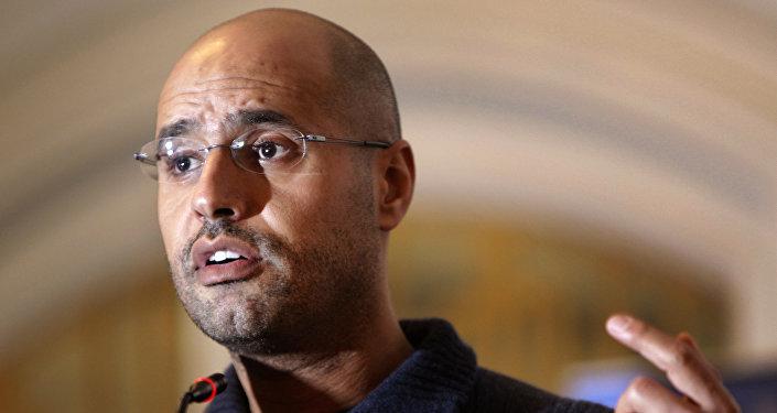 Seif al-Islam Gadhafi, son of Libyan leader Moammar Gadhafi, speaks to the media at a press conference in a hotel in Tripoli, Libya. (File)