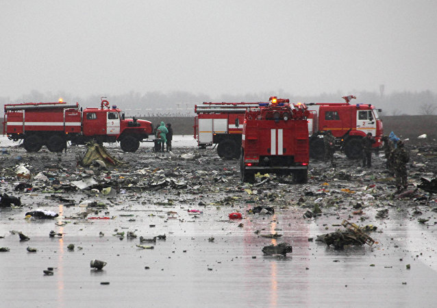 The crash site of the Boeing-737-800 passenger jet which crashed on landing in Rostov-on-Don airport.