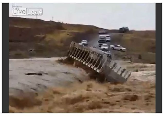 Truck Washed Away by a Mudflow