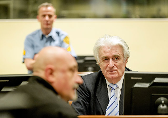 Ex-Bosnian Serb leader Radovan Karadzic sits in the court of the International Criminal Tribunal for former Yugoslavia (ICTY) in the Hague, the Netherlands March 24, 2016
