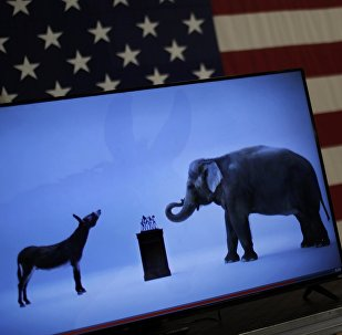 The mascots of the Democratic and Republican parties, a donkey for the Democrats and an elephant for the GOP, are seen on a video screen at Democratic U.S. presidential candidate Hillary Clinton's campaign rally in Cleveland, Ohio March 8, 2016