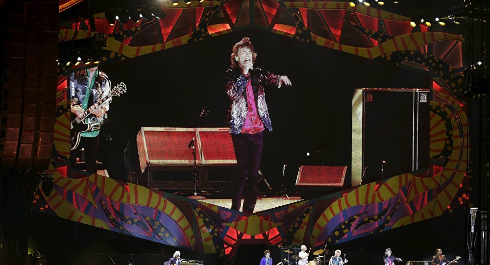 Mick Jagger of the Rolling Stones is seen on a giant screen as he performs during a free outdoor concert at Ciudad Deportiva de la Habana sports complex in Havana, March 25, 2016.