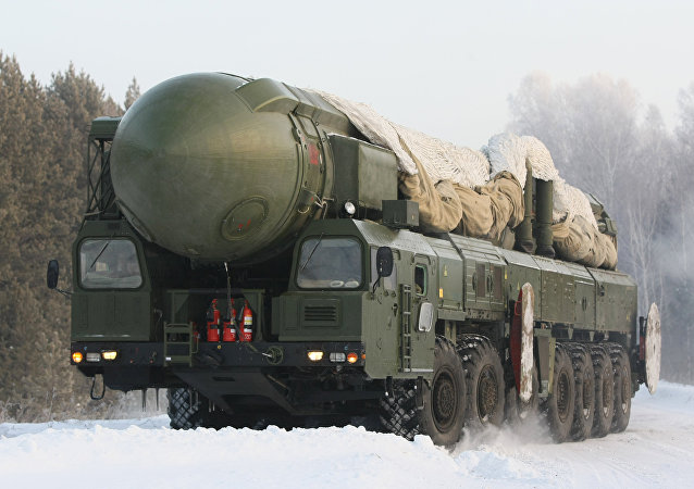 The RT-2PM Topol ballistic missile riding to the site of its permanent deployment with the Strategic Missile Forces of the Central Military District