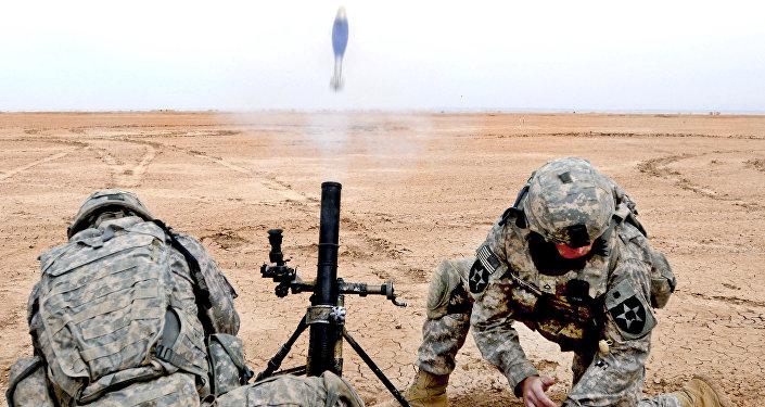 M224A1 mortar firing