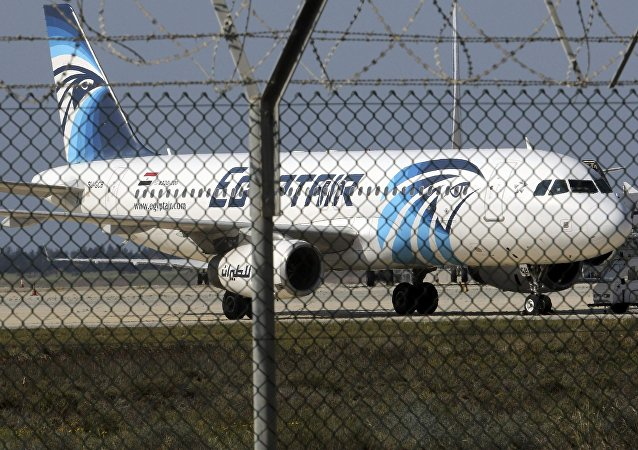 A hijacked Egyptair Airbus A320 airbus stands on the runway at Larnaca Airport in Larnaca, Cyprus , March 29, 2016
