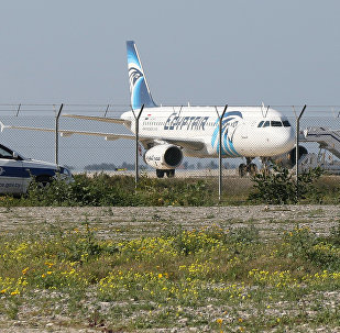 An EgyptAir Airbus A-320 sits on the tarmac of Larnaca airport after it was hijacked and diverted to Cyprus on March 29, 2016