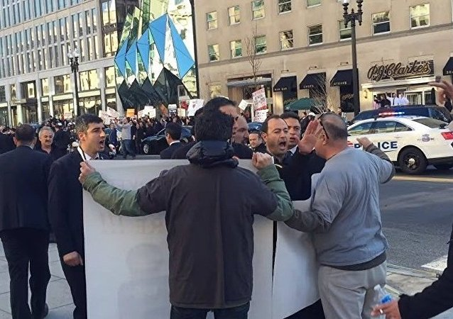 Erdogan guard yell at protester in Washington, DC.