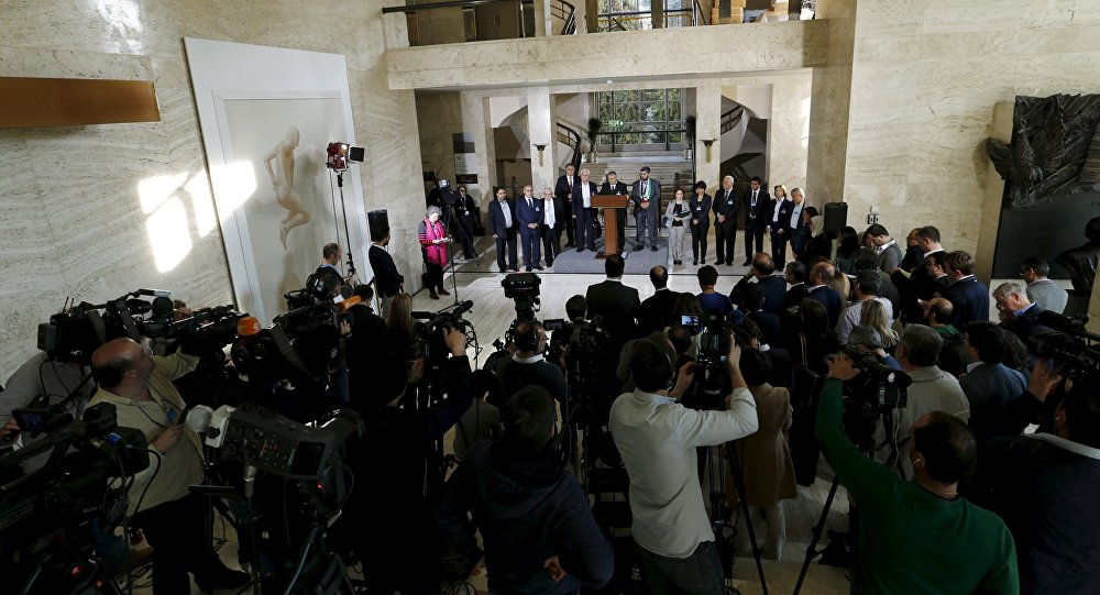 saad Al-Zoubi attends a news conference next to Mohamed Alloush of the Jaysh al Islam and George Sabra members of the High Negotiations Committee (HNC) after a meeeting with U.N. mediator Staffan de Mistura during Syria peace talks at the United Nations in Geneva, Switzerland, March 22, 2016