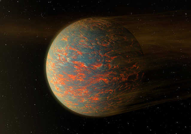 This illustration shows one possible scenario for the hot, rocky exoplanet called 55 Cancri e, which is nearly two times as wide as Earth