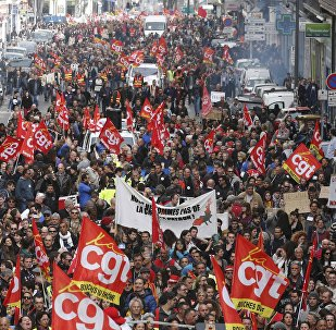 French labour union workers and students attend a demonstration against the French labour law proposal in Marseille, France, as part of a nationwide labor reform protests and strikes, March 31, 2016