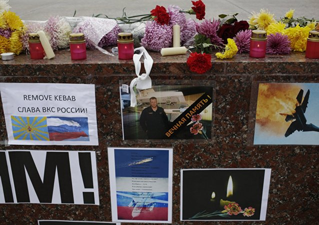 Memorial rally for killed Su-24 pilot Oleg Peshkov in Simferopol. file photo