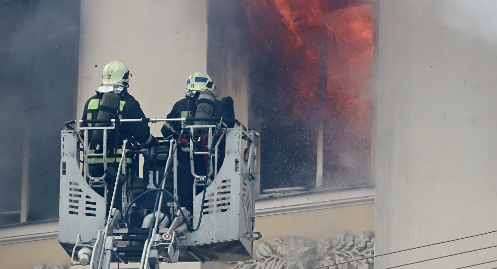 Fire in Moscow's Defense Ministry building