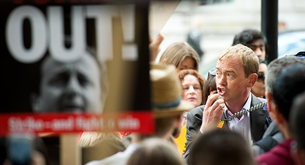 Liberal Democrat MP Tim Farron takes part in a human rights protest in central London on May 30, 2015 to demonstrate against the Conservative government's proposal to scrap the Human Rights Act.