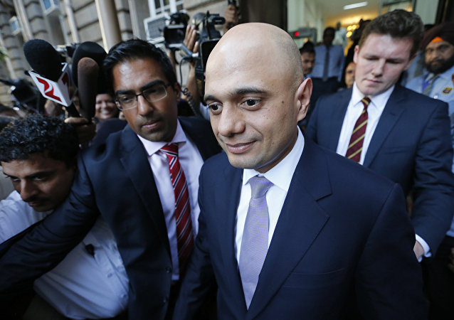 Britain's Business Secretary Sajid Javid leaves Bombay House, Tata Group head office in Mumbai, India, April 6, 2016.