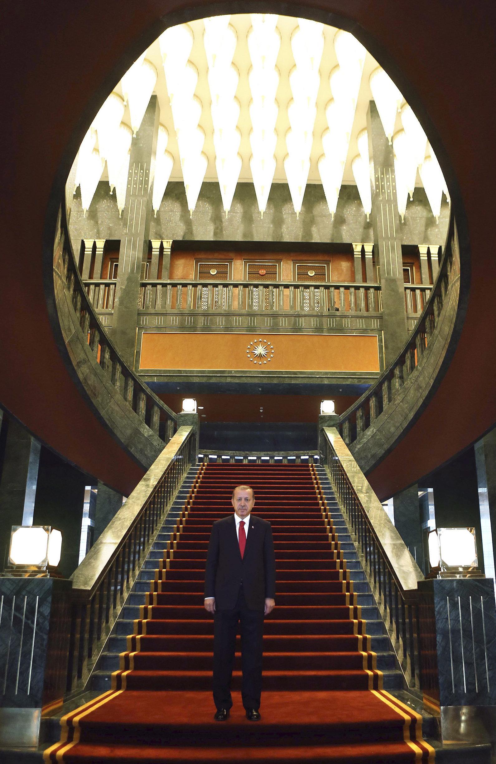 Turkish President Recep Tayyip Erdogan poses inside the new Ak Saray presidential palace (White Palace) on the outskirts of Ankara (File)