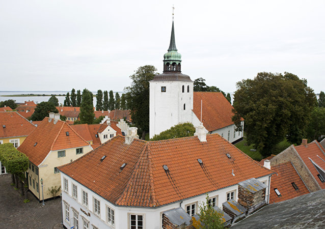 View of the main square and the church in downtown Aeroeskoebing, on the small Danish island of Aeroe August 30, 2012
