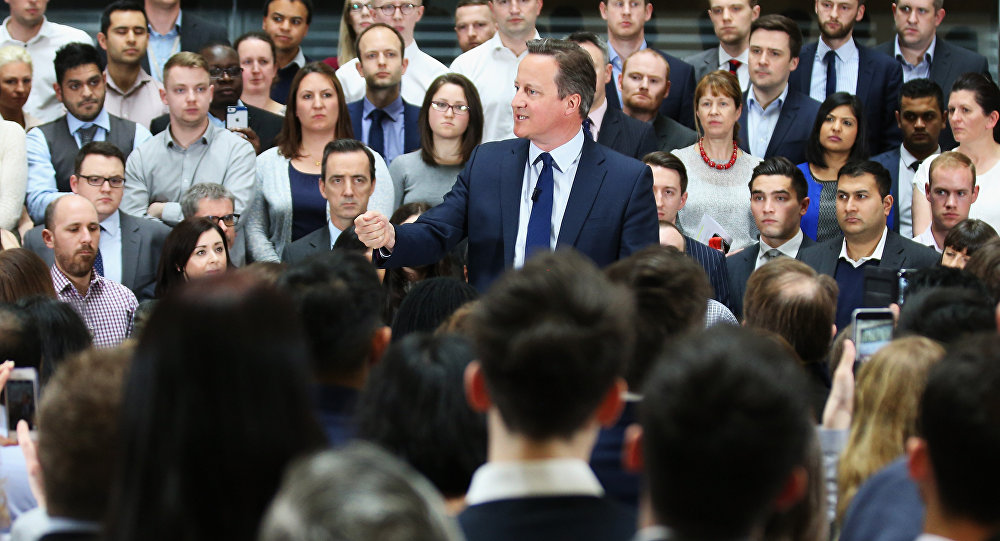 Britain's Prime Minister David Cameron speaks during a question and answer session on the forthcoming European Union referendum with staff of PricewaterhouseCoopers in Birmingham, central England, on April 5, 2016