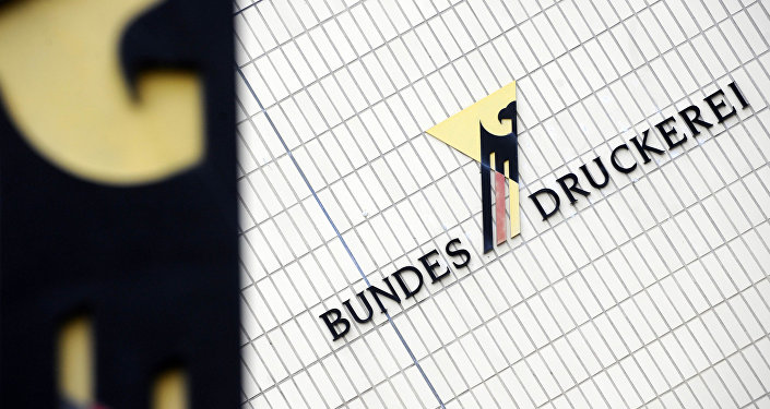 The logo of the German Federal Printing Office (Bundesdruckerei) is seen at their building in Berlin on October 4, 2010.