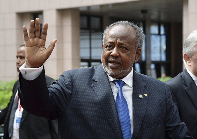 This file photo taken on April 02, 2014 shows Djibouti's president Ismail Omar Guelleh waving as he arrives for the 4th EU-Africa summit on April 2, 2014 at the EU Headquarters in Brussels.