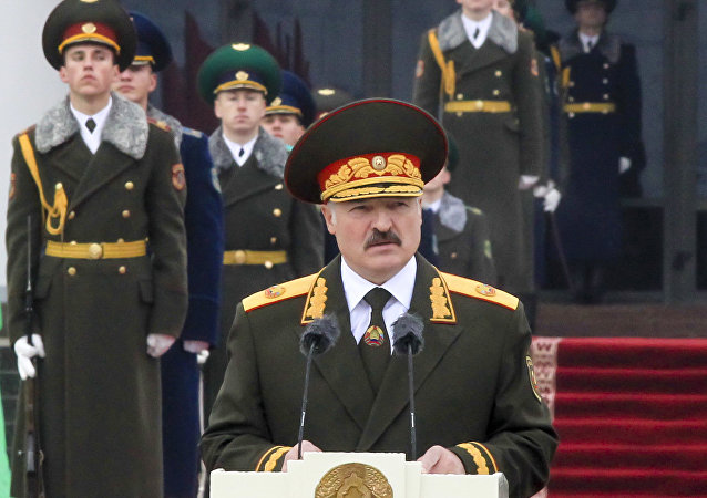 Belarusian President Alexander Lukashenko attends a military parade during his inauguration ceremony in Minsk, Belarus, Friday, Nov. 6, 2015