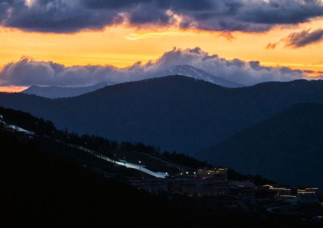 The sunset over Gorky Gorod ski resort at Krasnaya Polyana.