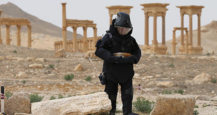 Expert from Russia's International Mine Action Center in Palmyra