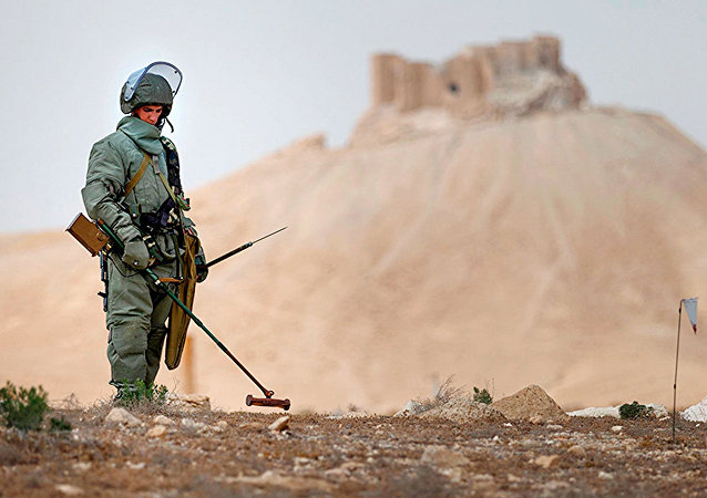 Experts from Russia's International Mine Action Center in Palmyra