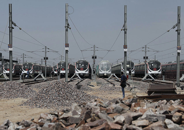 Hyundai Rotem trains are seen parked inside the Delhi Metro Rail Corporation (DMRC) Mukundpur depot in New Delhi, India, April 6, 2016.