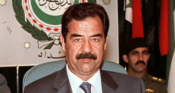 Iraqi President Saddam Hussein shown in file picture dated 28 May 1990 in Baghdad, addresses the opening session of the Extraordinary Arab Summit called to adopt a unified Arab stance against Soviet Jewish immigration to Israel.(File)