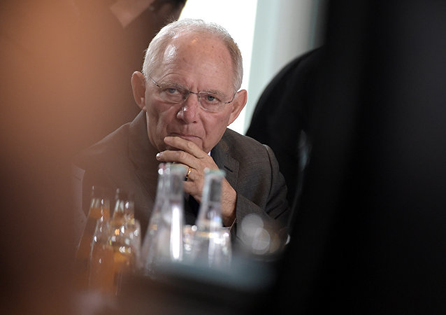German Finance Minister Wolfgang Schaeuble attends for the weekly cabinet meeting on March 23, 2016 at the Chancellery in Berlin.