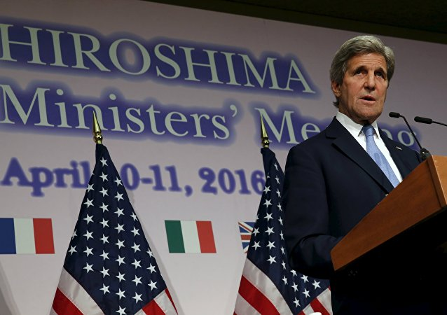 U.S. Secretary of State John Kerry holds a news conference at the conclusion of the G7 foreign ministers meetings in Hiroshima, Japan
