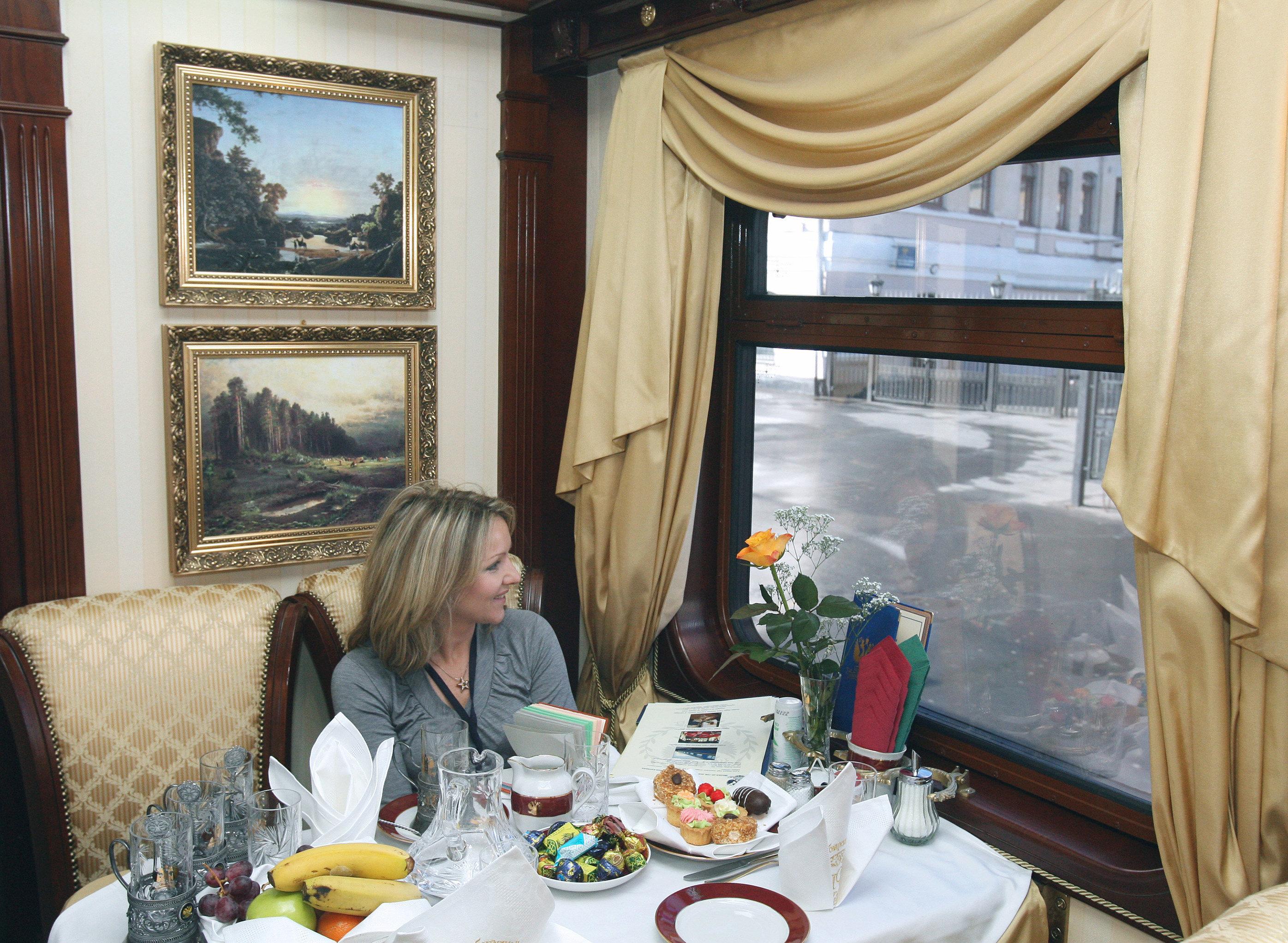 A Golden Eagle Luxury train's restaurant