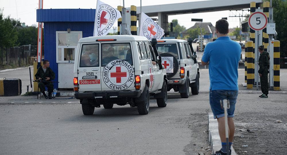 International Red Cross vans at Donetsk border crossing point (File)