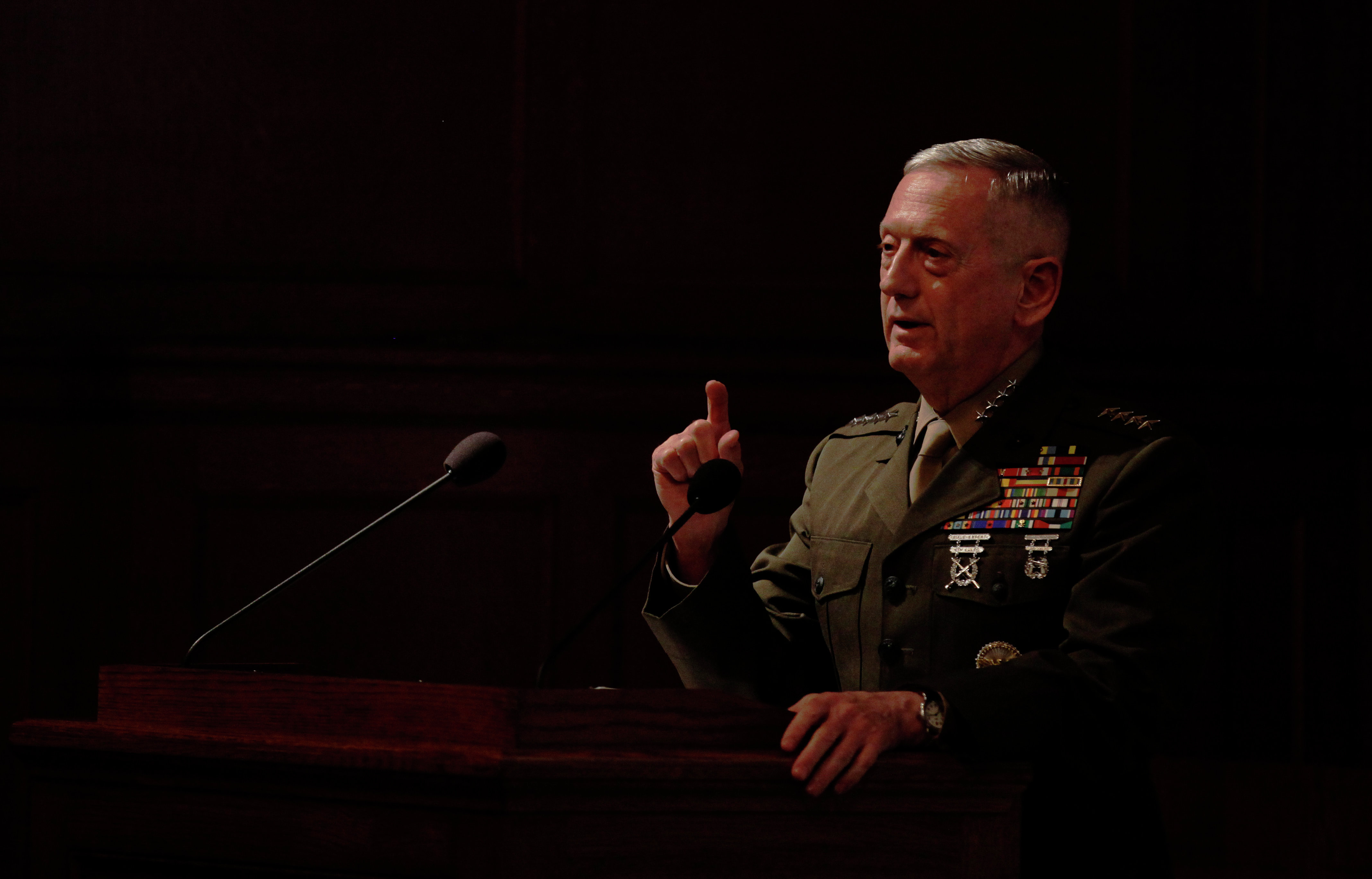 Gen. James Mattis, the head of U.S. Central Command, takes questions after delivering a lecture to the London think tank Policy Exchange in London, Tuesday, Feb. 1, 2011.