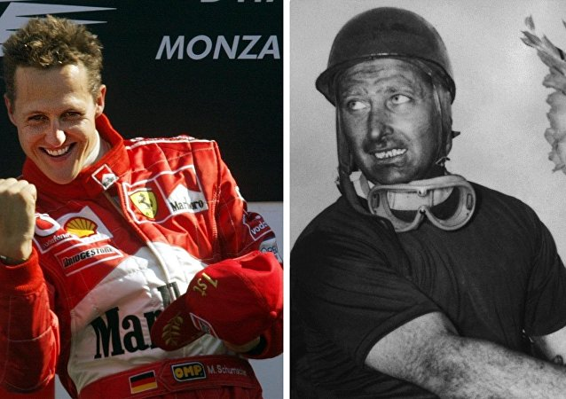 Combo of a picture of German Ferrari driver Michael Schumacher on the podium of the Monza racetrack, 14 September 2003, after winning the Italian Formula One Grand Prix (L) and a picture of Argentine Mercedes driver Juan Manuel Fangio after winning the Italian Grand Prix, 13 September 1955 in Monza and becoming World champion