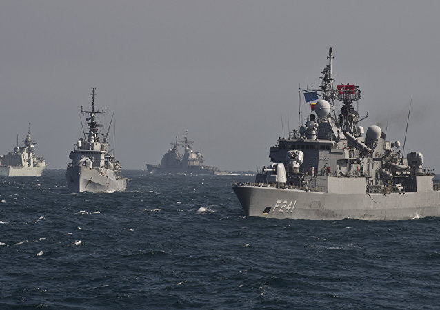 Warships of the NATO Standing Maritime Group-2 take part in a military drill on the Black Sea, 60km from Constanta city March 16, 2015
