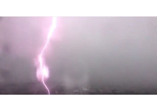 Lightning Strike in Midtown Houston