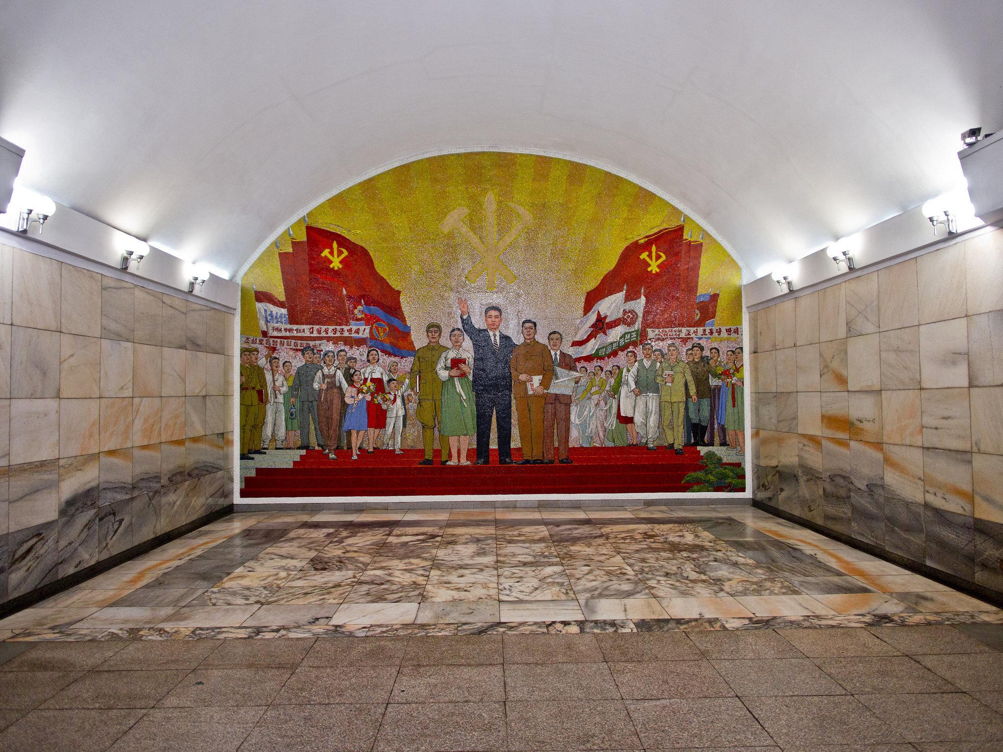 Pyongyang Metro Mosaic Mural