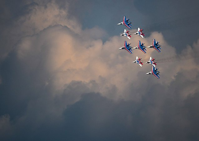 Russian Knights and Swifts aerobatic teams train for the upcoming Victory Day Parade in Moscow.