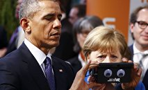 German Chancellor Angela Merkel and President Barack Obama, Hanover, Germany April 25, 2016.